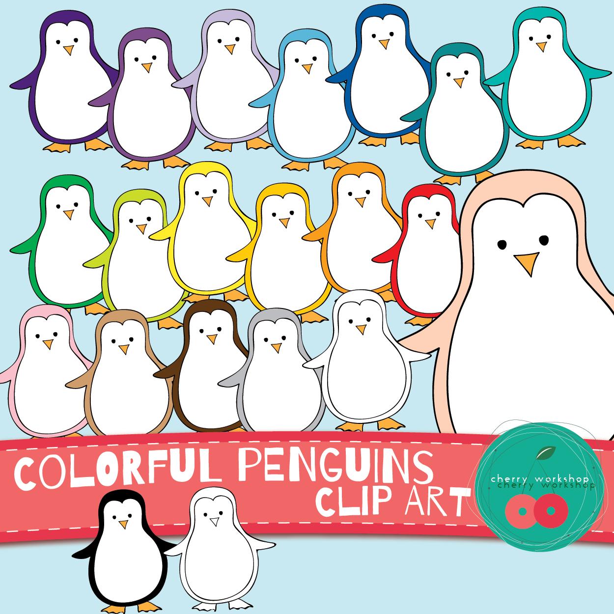 Colorful Penguins Clip Art Cute Winter Clip Art Commercial