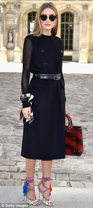Birds of a feather: Olivia Palermo, left, was spotted at Paris Fashion Week's Dior show we...