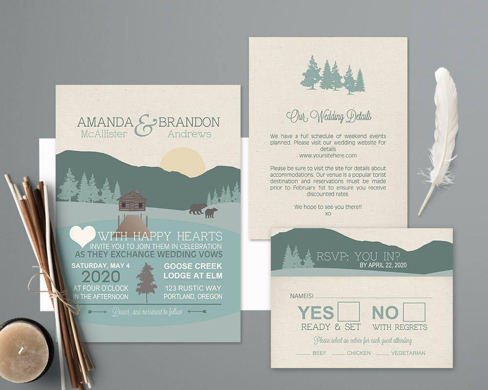 Mountain Wedding Invitations Rustic Nature Wedding Invitation