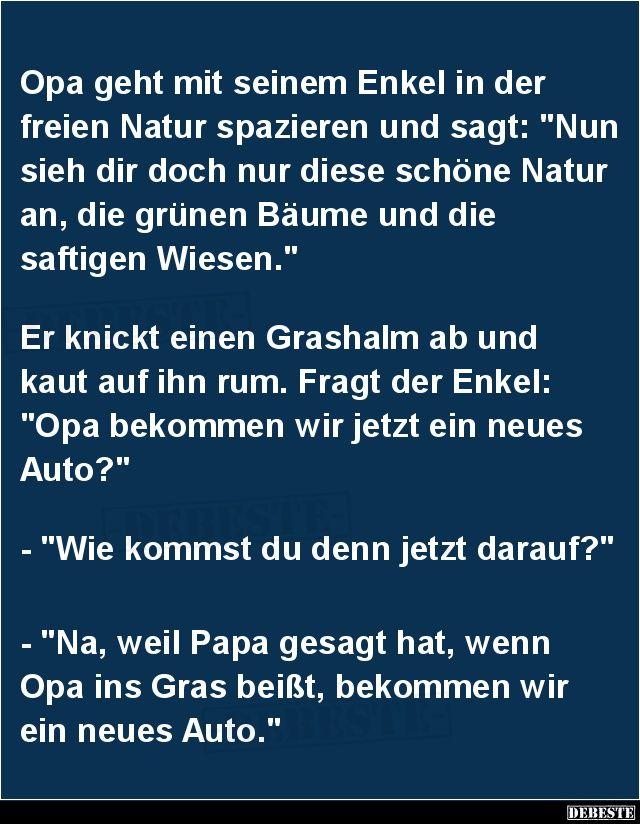 Opa Geht Mit Seinem Enkel In Der Freien Natur Spazieren.. | Lustige Bilder,