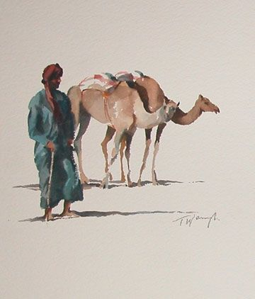 Trevor Waugh Camels 20x20cms Watercolour Camels Art Lovers Art