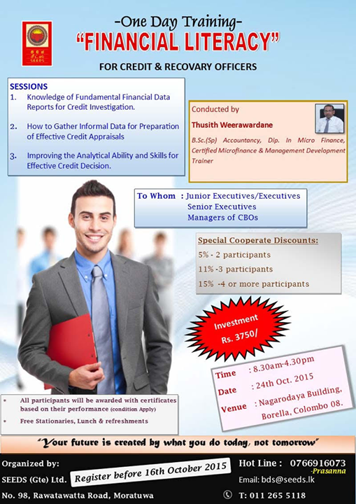 Training On Financial Literacy For Credit And Recovery Officers