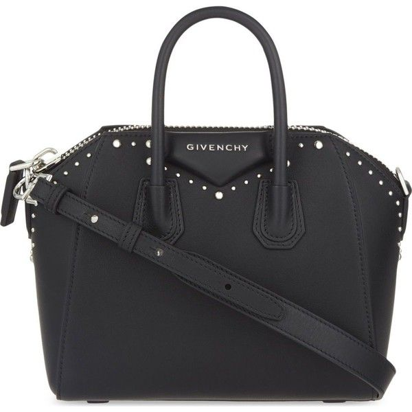 Givenchy Antigona mini stud leather tote (19,605 MXN) ❤ liked on Polyvore featuring bags, handbags, tote bags, givenchy, leather purses, givenchy tote bag, mini tote, mini leather tote and mini tote bags