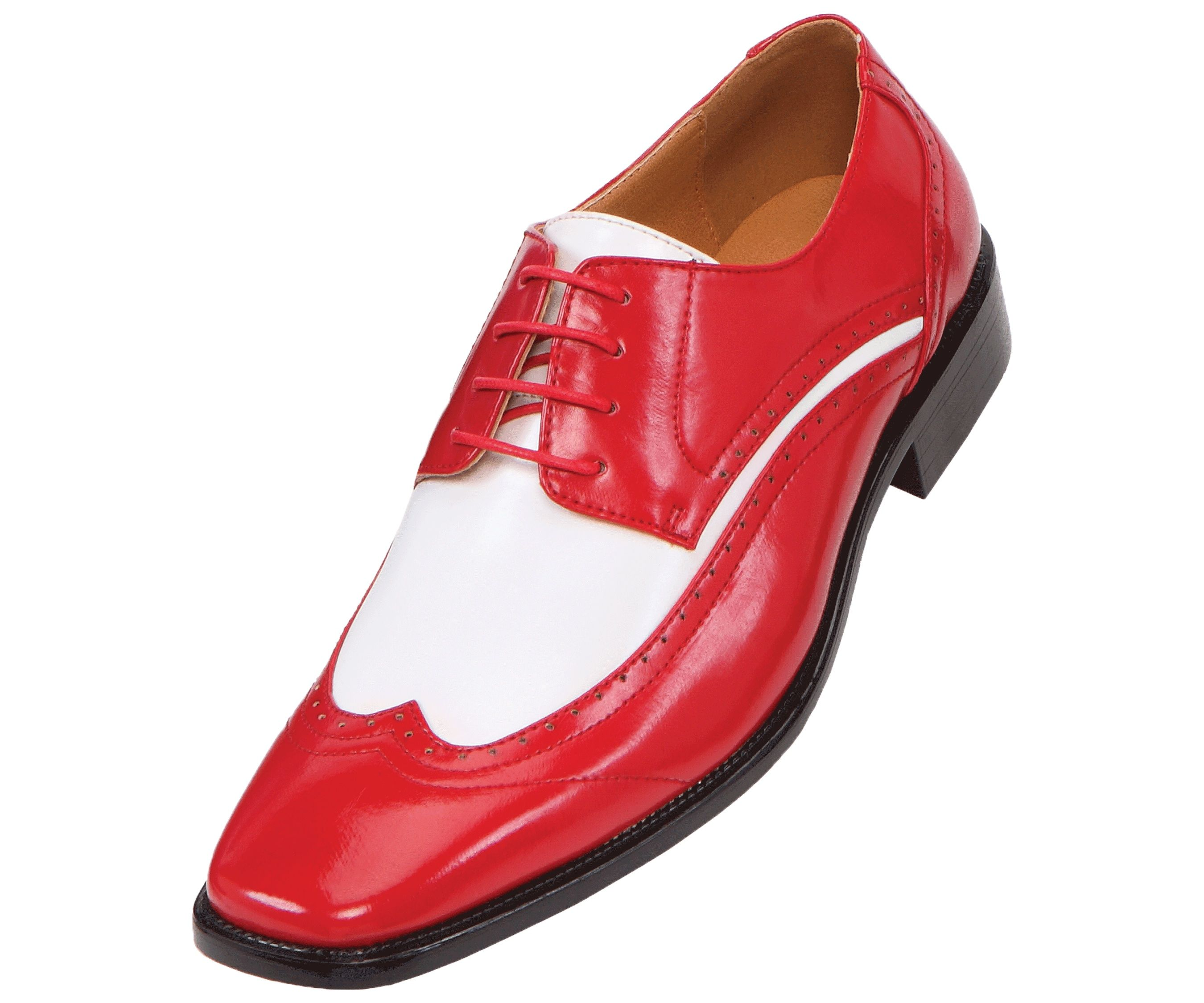 Details about Amali Mens Two-Tone Red and White Oxford Dress Shoe ...