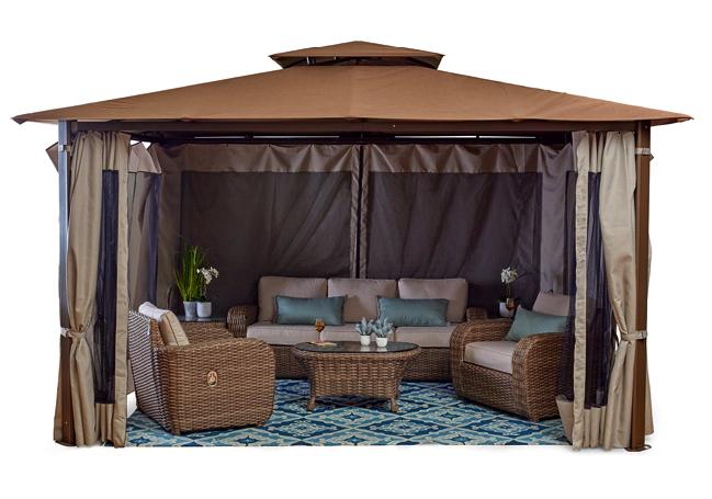 Amalfi 11 X15 Vibrant Bronze Mocha Gazebo Fortunoff Backyard Store Gazebo Flooring Sale Outdoor Chaise Lounge