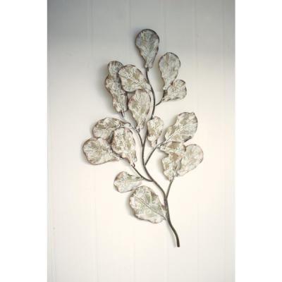 Kalalou Distressed White Metal Leaf Wall Decoration Antique White Wall Decor Wall Decor Crafts Medallion Wall Decor
