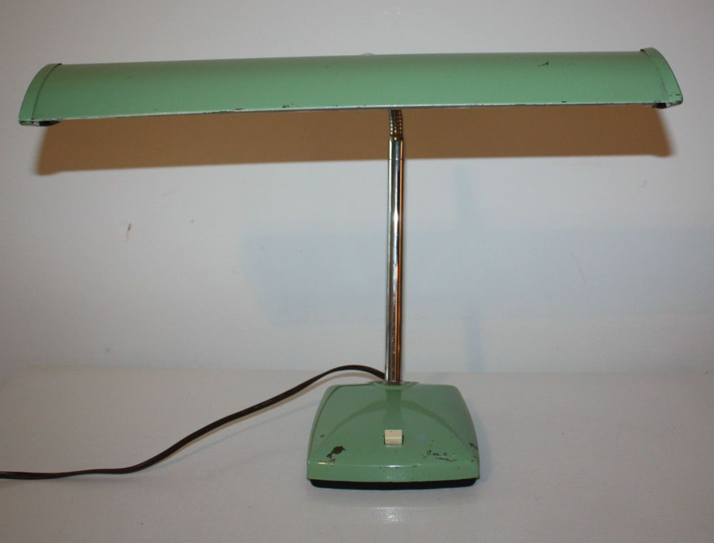 Vintage 1960s Desk Lamp Green Imar Gooseneck Light Fluorescent Banker Office Mcm