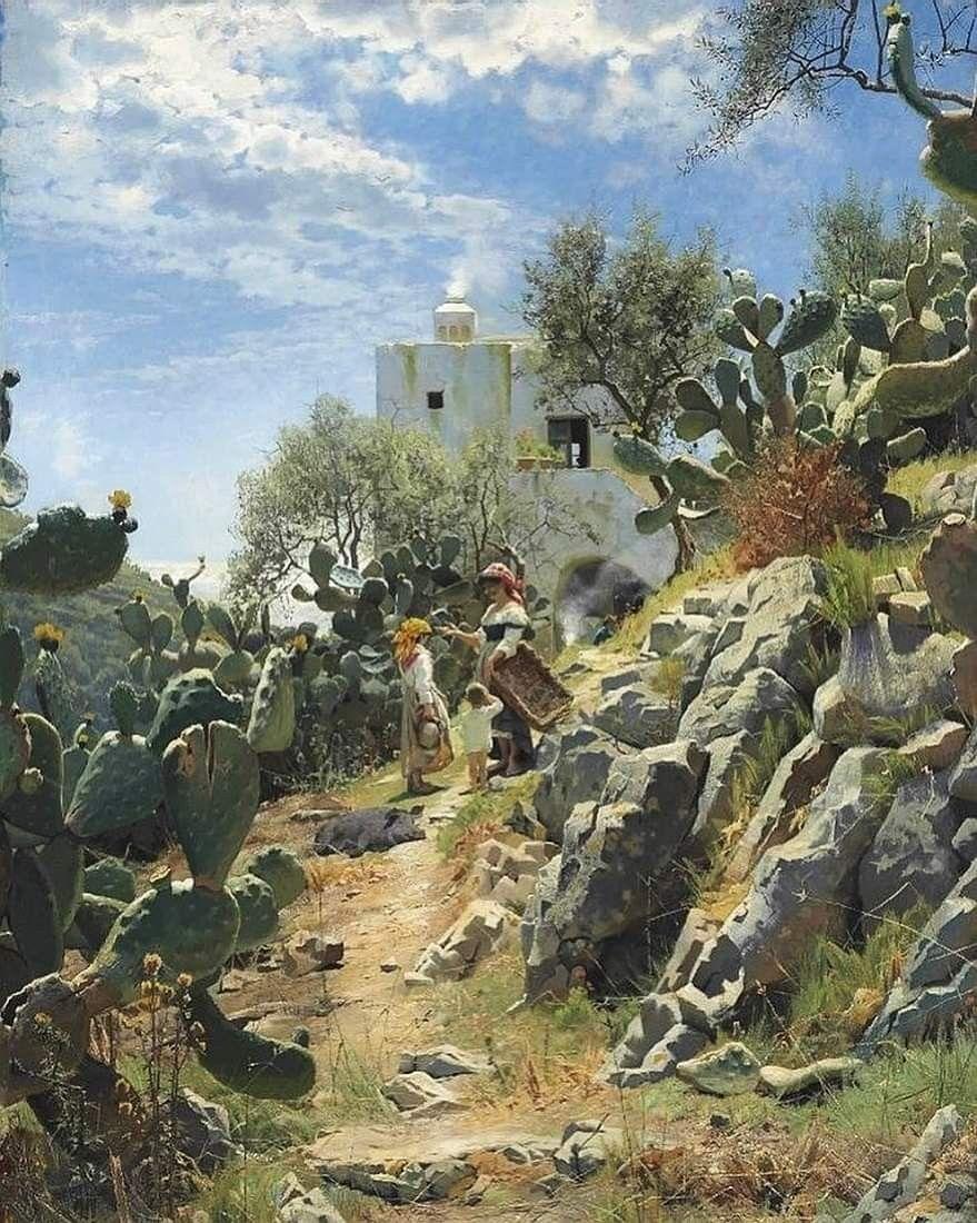 Peder Mørk Mønsted, Cactus (fichi d'India) a Capri, 1885