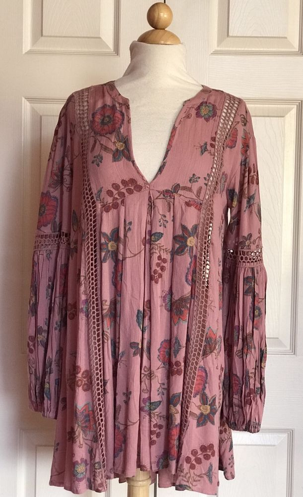 71a58c8e4af FREE PEOPLE Pink Floral Just The Two Of Us Tunic Boho Dress Size S NWT NEW  #FreePeople #Sundress #Cocktail