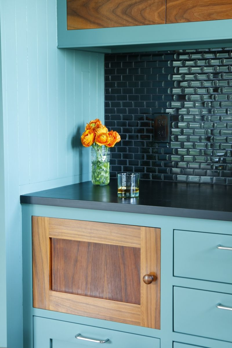 Love the colors of this kitchen. Painted hardwood, with some drawers ...