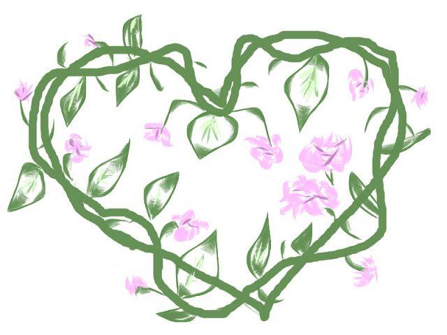 Corazones inventados: Un corazón de hojas verdes y flores rosas ...