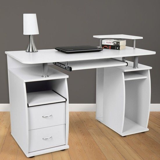 White Computer Desk With Keyboard Shelf 1 White Computer Desk