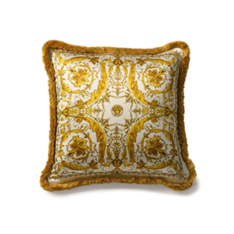 Versace Home, Gold & White Silk Fringe Cushion, Buy Online at LuxDeco