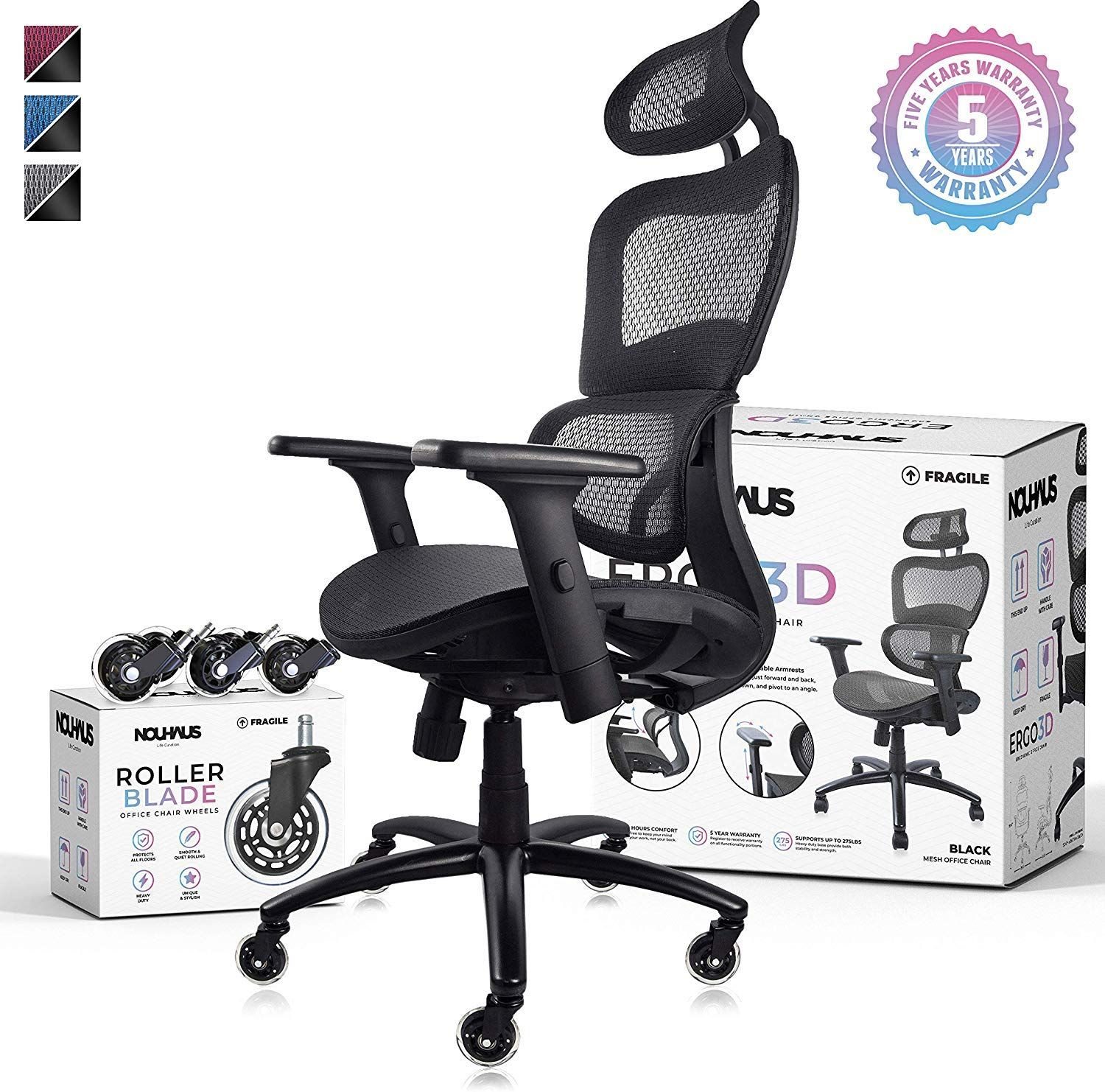 Nouhaus Ergo3d Ergonomic Office Chair Rolling Desk Chair With 4d