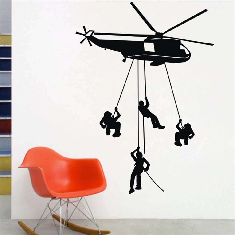 Military Army Helicopter Wall Decal Kids Child Bedroom
