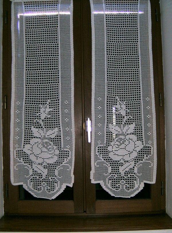 Crochet rideaux de fleurs roses à la main   – Stricken häkeln