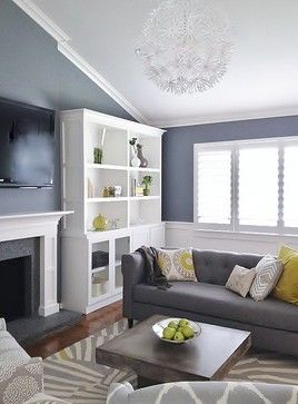 Grey and Green Living contemporary living room san