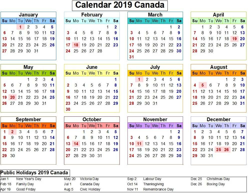 canada 2019 calendar with holiday colorful
