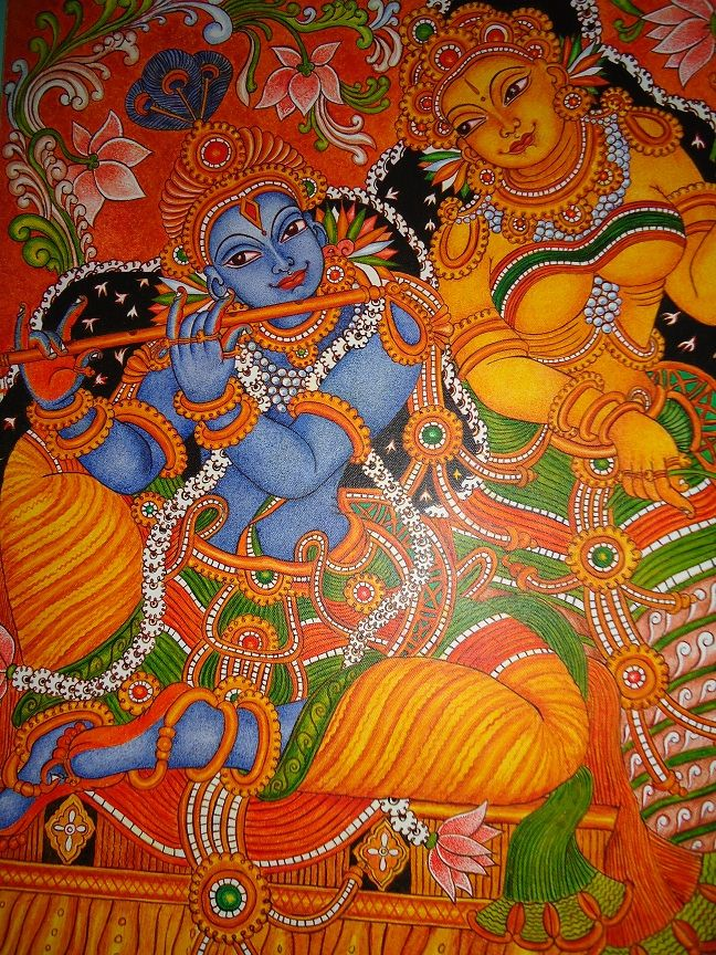 Mural of radha krishna shopping trinkets and treats for Mural kerala