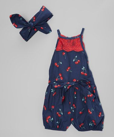 Another great find on #zulily! Navy Cherries Bubble Romper & Headband - Girls #zulilyfinds
