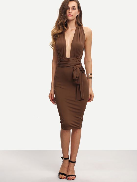 Online shopping for Coffee Sleeveless Tie Waist Backless Sheath Dress from a great selection of women's fashion clothing & more at MakeMeChic.COM.