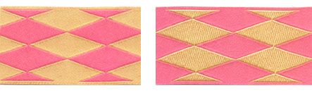Ribbon - Harlequin in Pink & Yellow, 1.5 in.