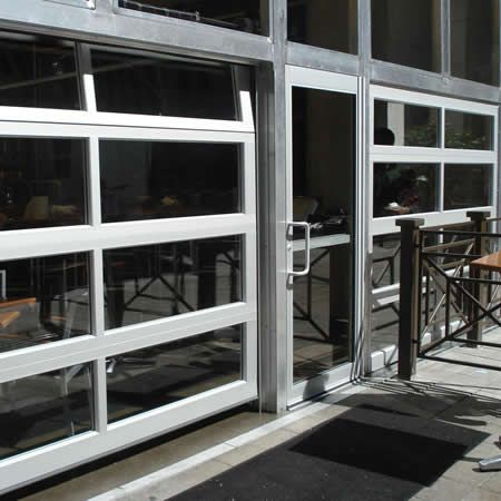 aluminum full view glass garage doors on restaurant | Commercial Aluminum Overhead Garage Doors - Dodds & aluminum full view glass garage doors on restaurant | Commercial ...