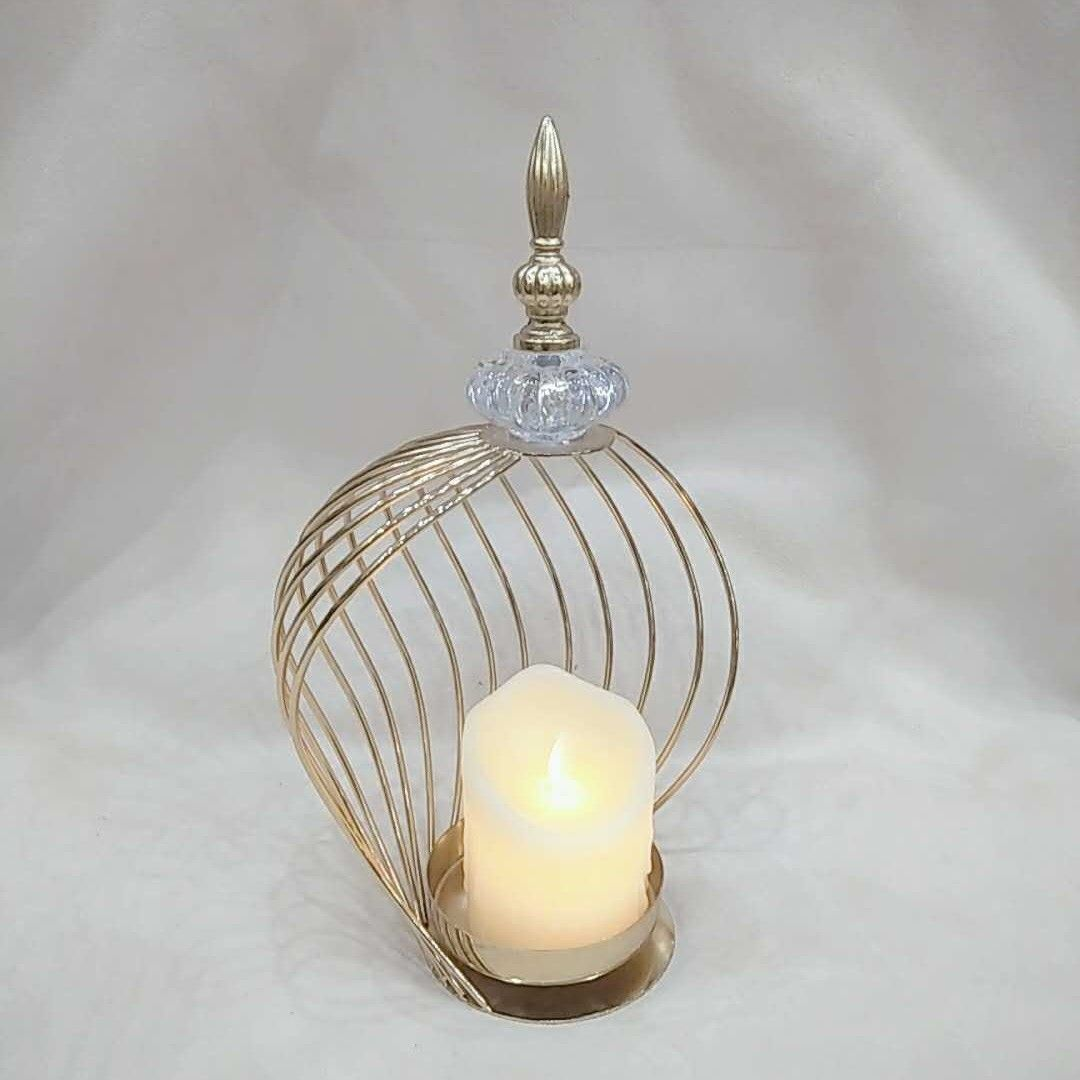 Gold Cage Design Candle Holder With Top Stone And Artificial Candle Homedecor Tabledecor حامل شموع بتصميم قفص Candle Holders Home Decor Candles