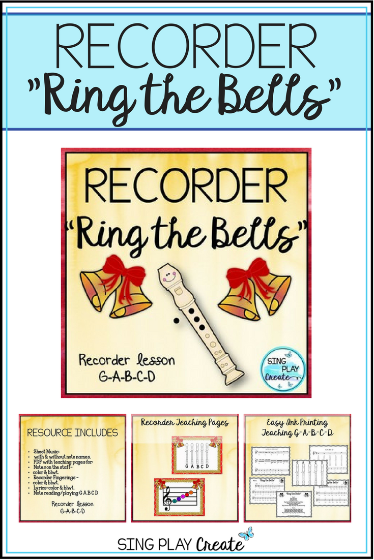 Song For Recorder Choir Guitar Ring The Bells G A B C D School