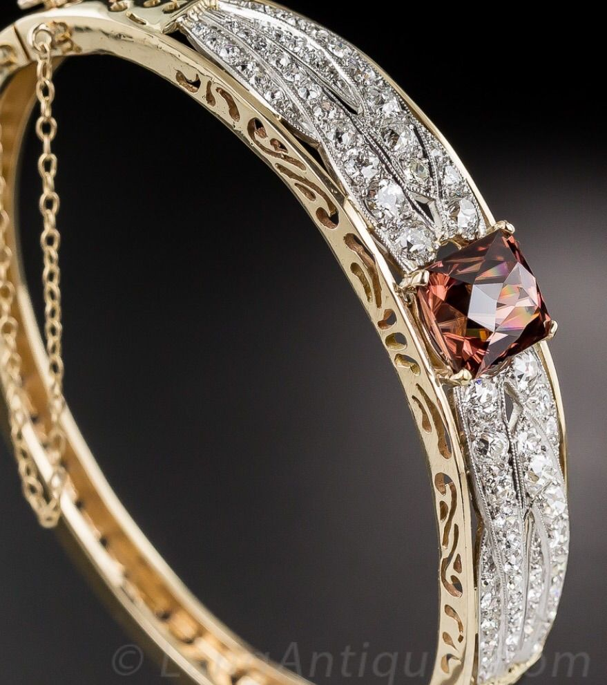 Cinnamon Zircon and Diamond Bangle Bracelet