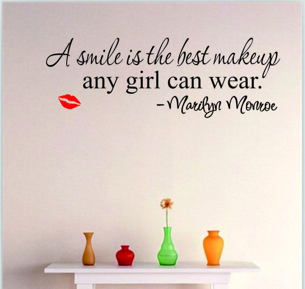 marilyn monroe quote a smile decal art walls colour black and smile makeup marilyn monroe quote vinyl wall stickers art mural home decor decal lips