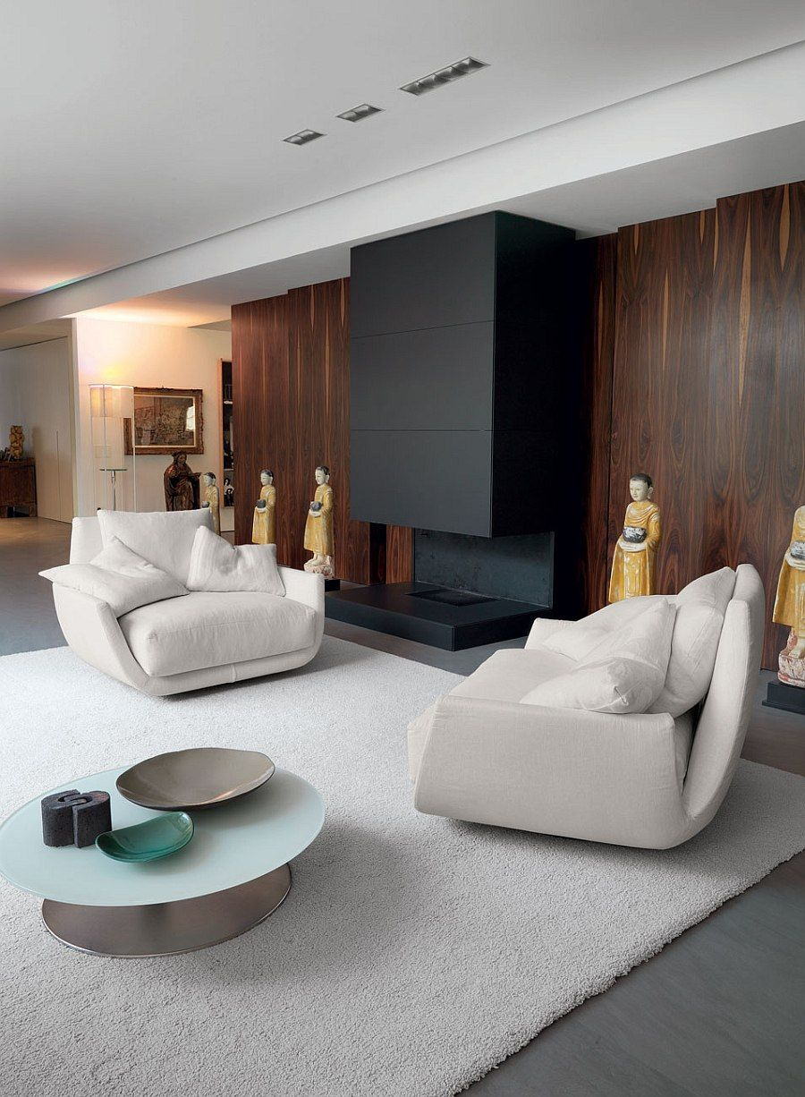 Twin Armchairs Next To The Fireplace Create A Cozy Setting Luxury Sofa Furniture Contemporary Seating