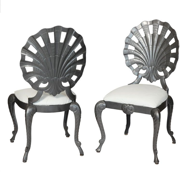 Pair Of Grotto Chairs By Brown Jordan United States 20th Century Highly Styled Shell Back Painted Gray And Manufactured