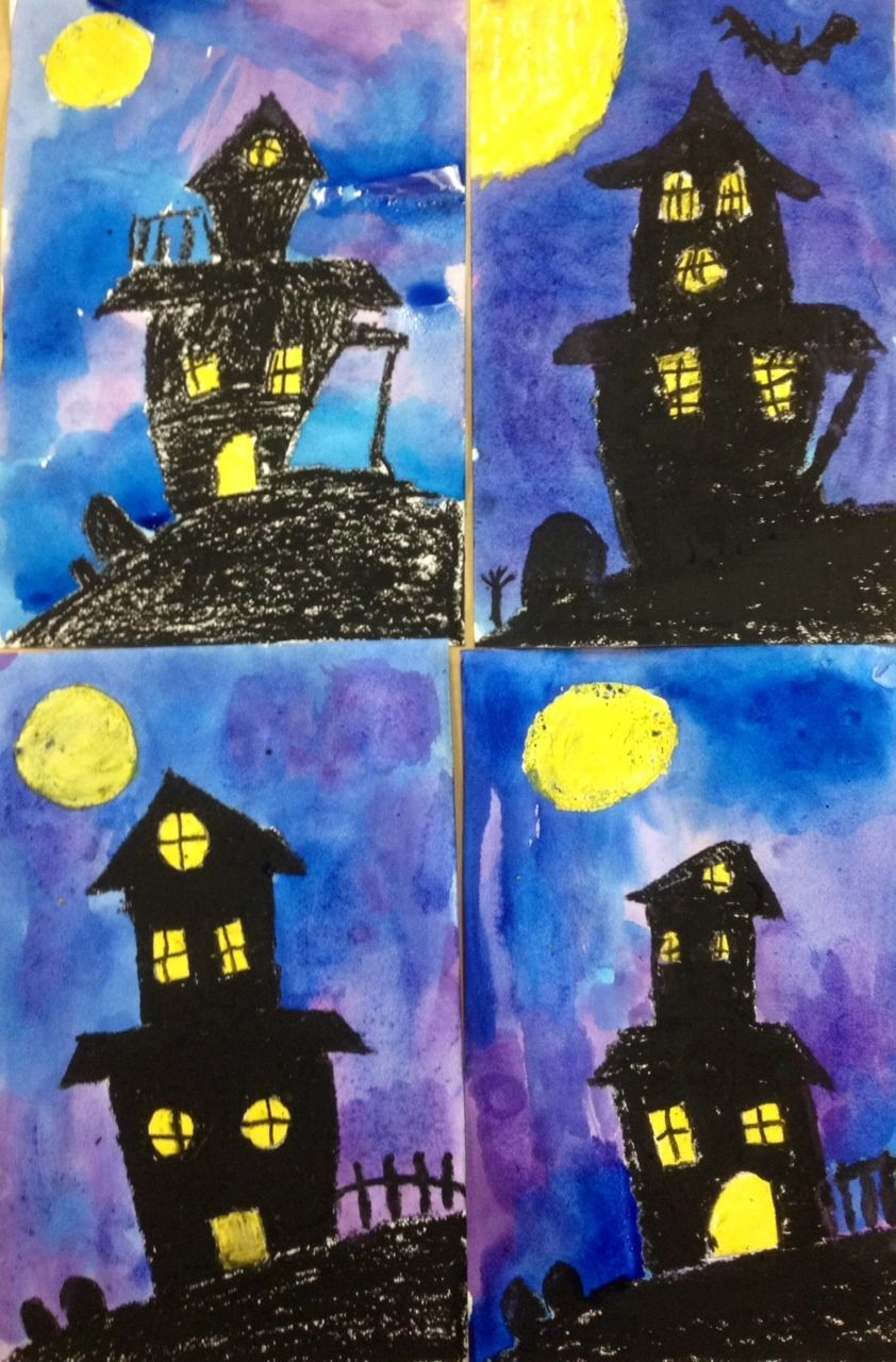Oil Pastels And Water Color With Images Halloween Art Lessons