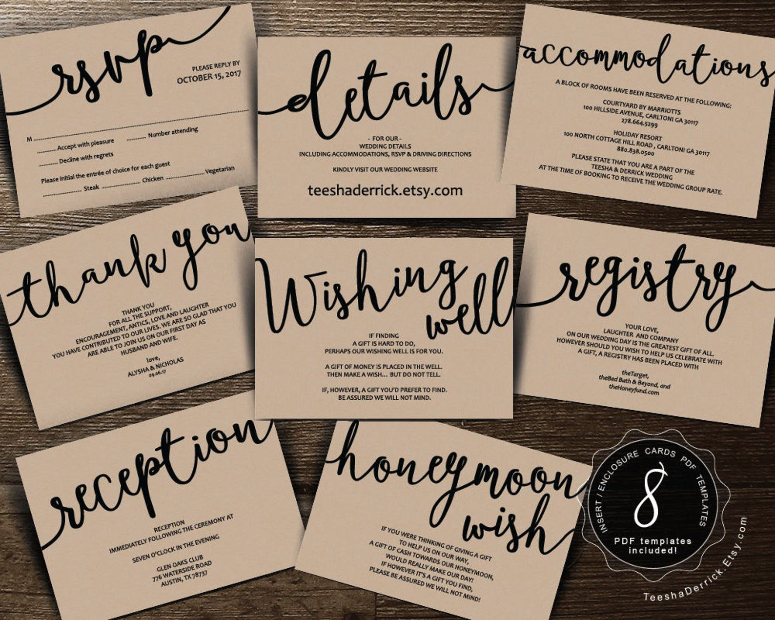 Wedding Insert Cards Pdf Template Instant Download Etsy In 2021 Wedding Invitation Inserts Wedding Registry Cards Registry Cards Free wedding registry card template