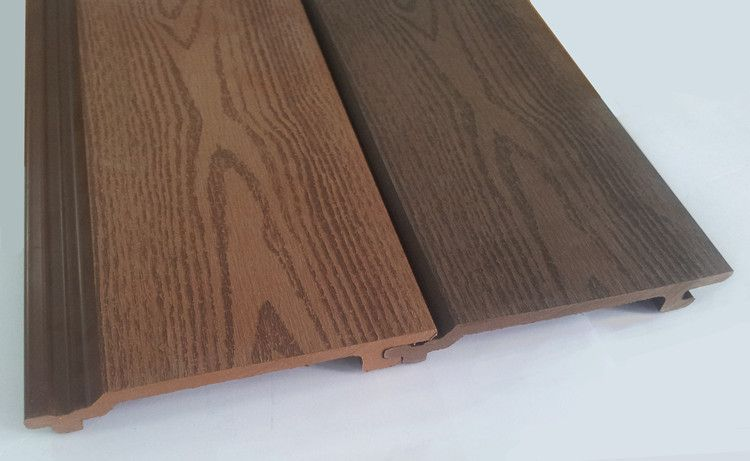 Wood look wall panels wood plastic composite wall cladding for Wood grain siding panels