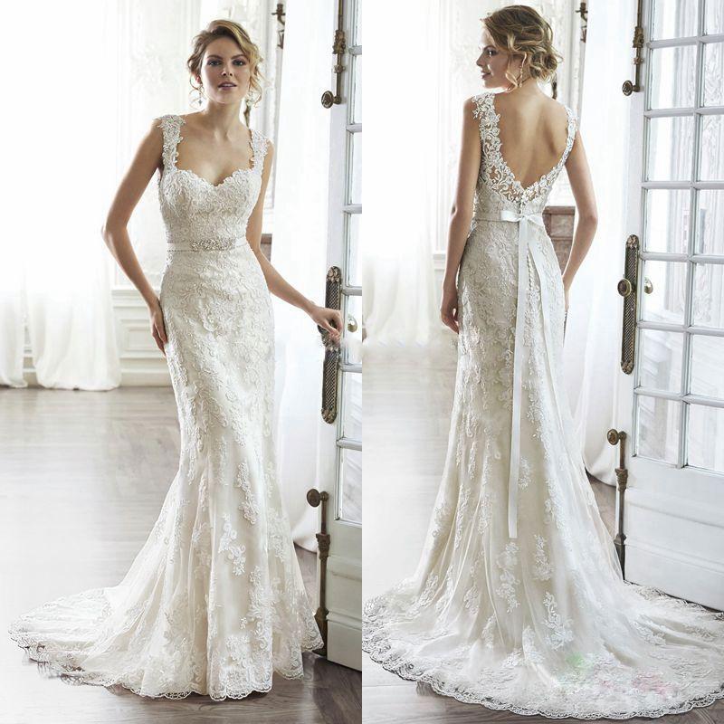 2017 Elegant Lace Mermaid Wedding Dresses with Beaded Sashes Bridal ...