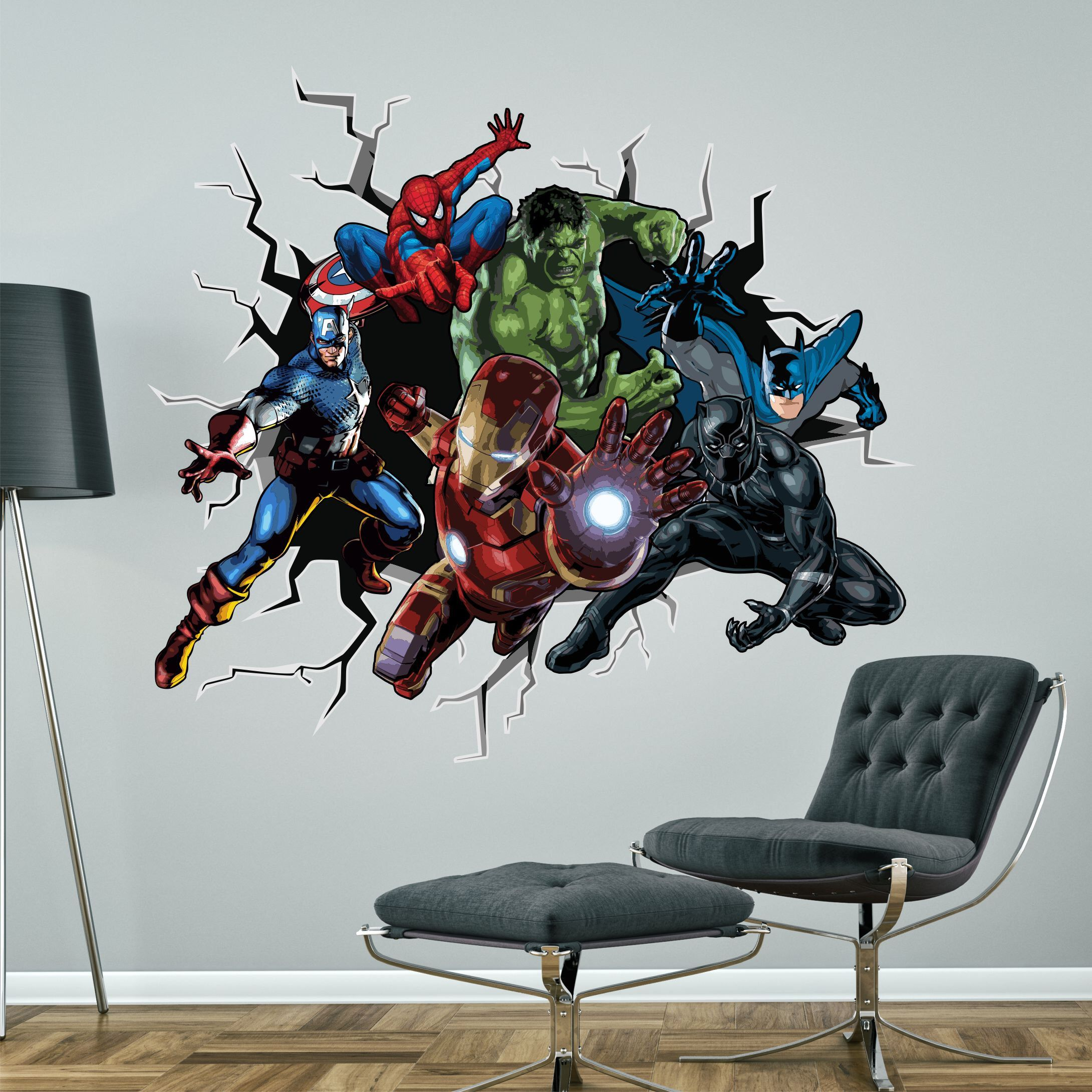 Superheroes Breaking Smashing Through Wall Sticker Boys Etsy In 2020 Superhero Wall Superhero Wall Decals Superhero Wall Stickers