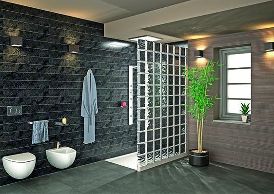 Un ba o decorado con colores neutros de gran ayuda para que los espacios luzcan m s grandes - Bloques de vidrio para bano ...