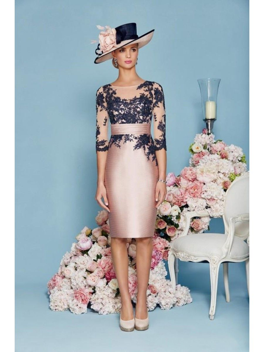 Short Satin Lace Mother of The Bride Dresses with A Jacket 99503002 ...