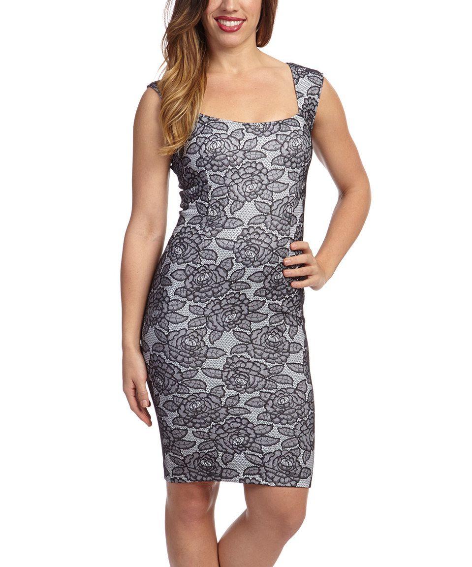 Love this Marc Bouwer Hybrid Black & White Lace Scoop Neck Dress - Women by Marc Bouwer Hybrid on #zulily! #zulilyfinds