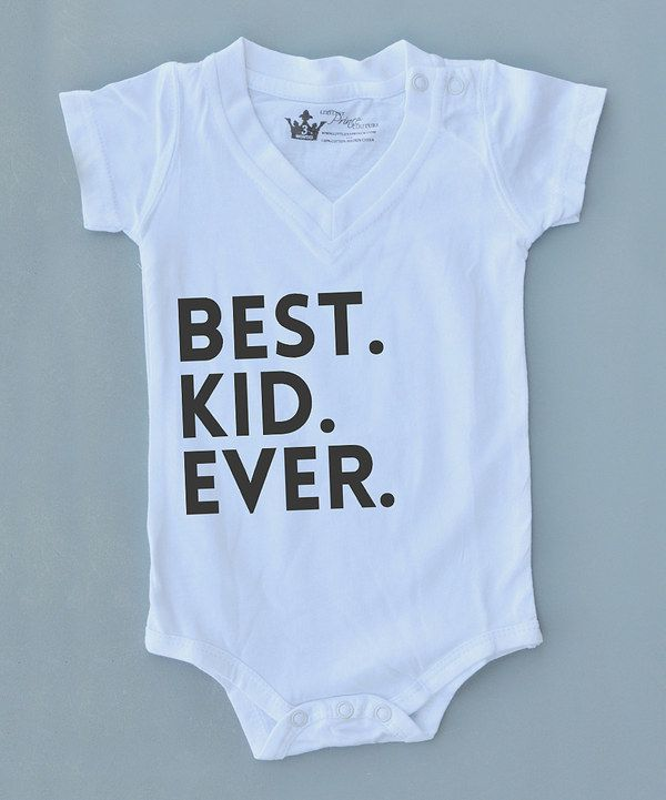 Look at this Littlest Prince Couture White 'Best. Kid. Ever.' Bodysuit on #zulily today!