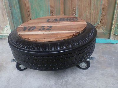 Balinese Recycled Rubber Tyre Tube Side Coffee Table Castor Wheels