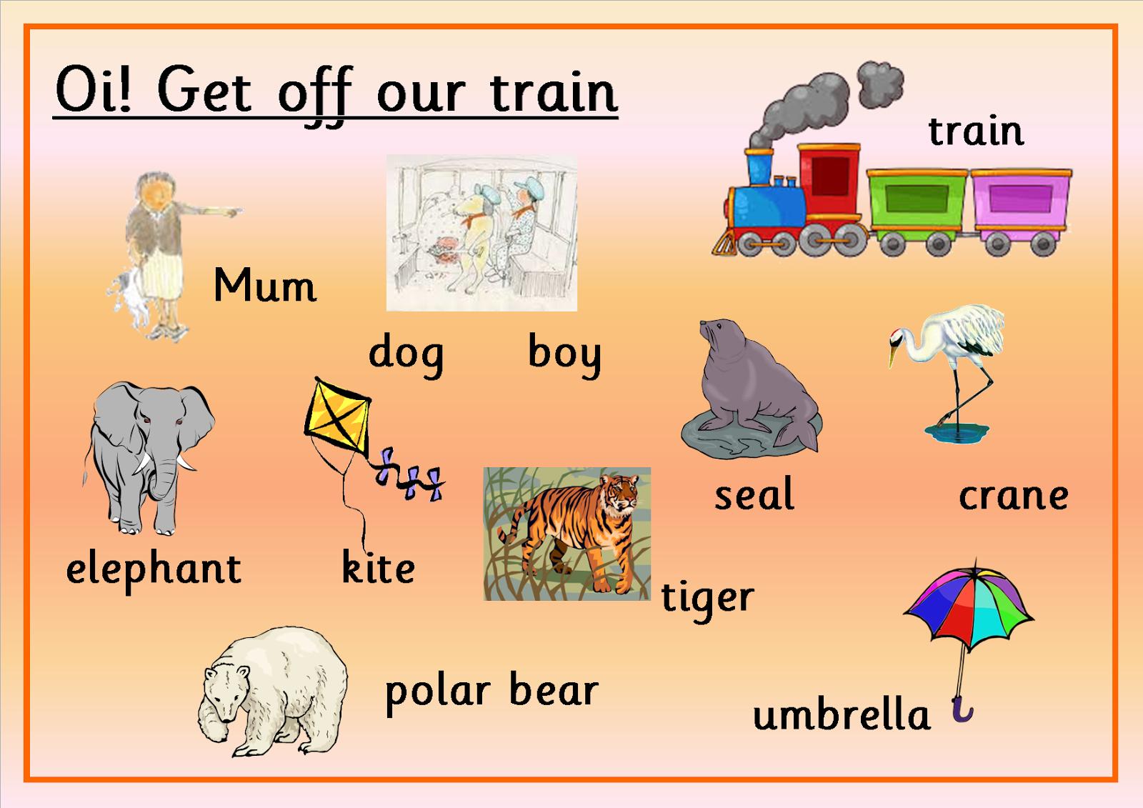 Oi Get Off My Train By John Burningham Wordmat By Fun In