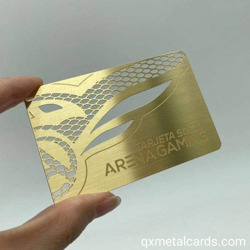 Brushed Gold Metal Business Cards In 2021 Metal Business Cards Brushed Gold Gold Metal