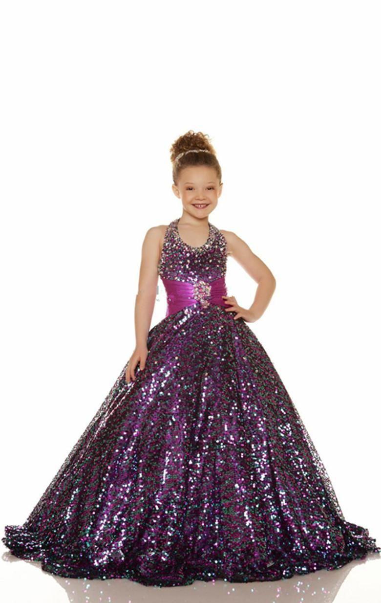 2015 Cheap Gold Purple Flower Girl Dress Beaded Halter Ball Gown ...