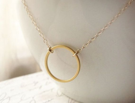 Simple circle necklace  gold circle necklace by OliveYewJewels, $33.00