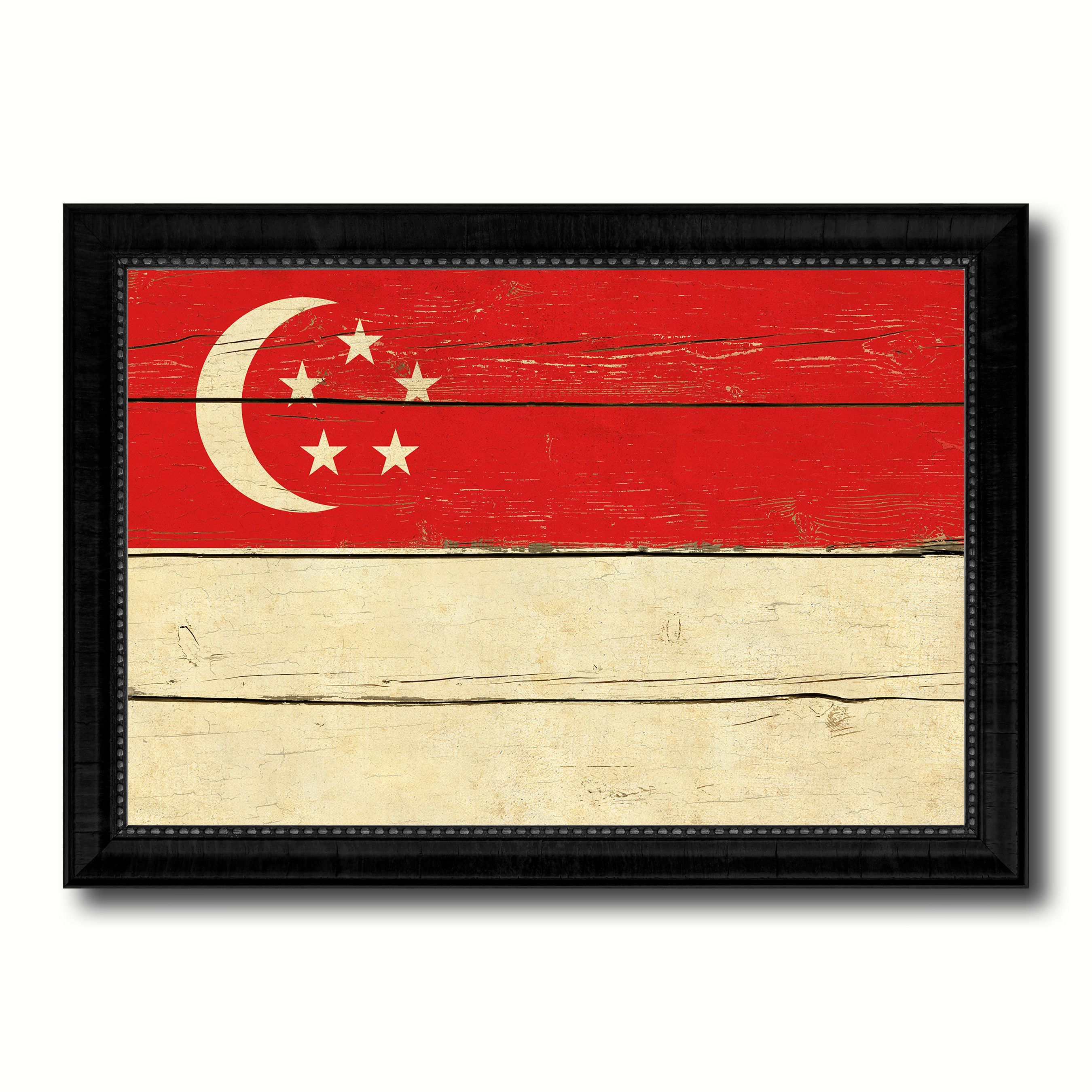 Singapore Country Flag Vintage Canvas Print with Black Picture Frame ...