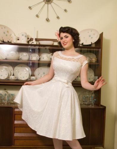 Tatyana Bettie Page 50s Shell Alika Off White Swing Dress Xs 4x Wedding Nwt
