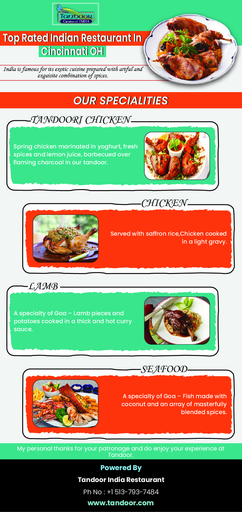 Tandoor india restaurant is famous for its indian food in
